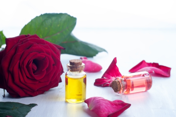 Beauty of rose essential oil for hair care.