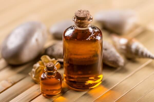 Castor oil in small containers