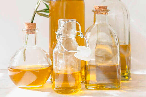 Castor oil in different containers