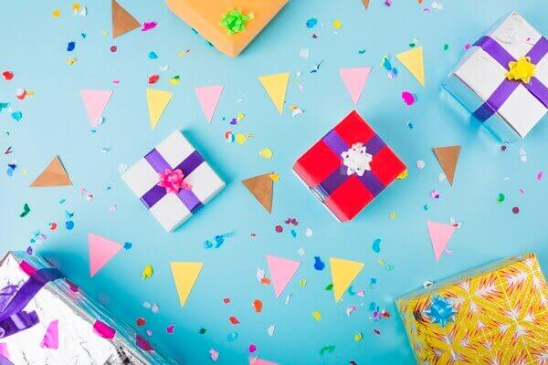 Gift boxes and confetti